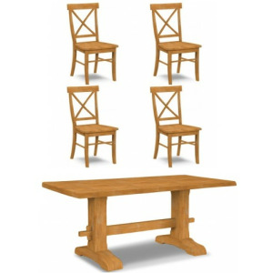 Live Edge Trestle Table & 4 Chairs